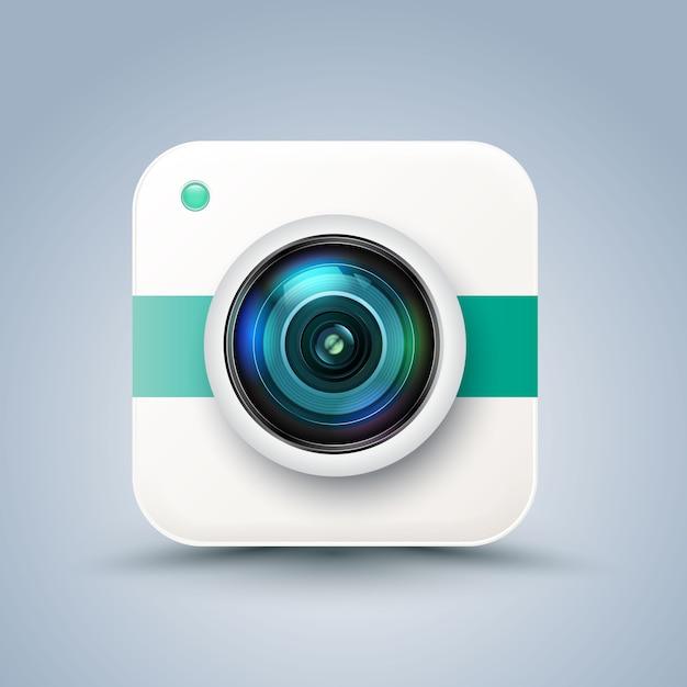 Ícone de câmera retrô foto hipster. Vetor Premium