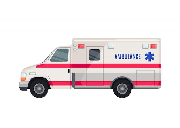Ícone de carro de ambulância em estilo simples, isolado no fundo branco. Vetor Premium