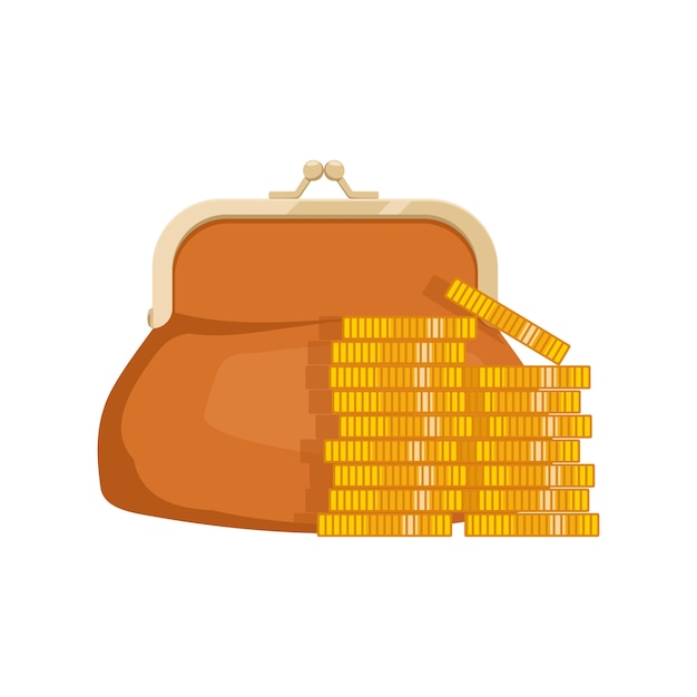 Ícone de carteira com dinheiro. bolsa com dinheiro. símbolos de negócios e finanças Vetor Premium