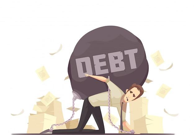 Ícone de cartoon de dívida de falha de negócios Vetor grátis