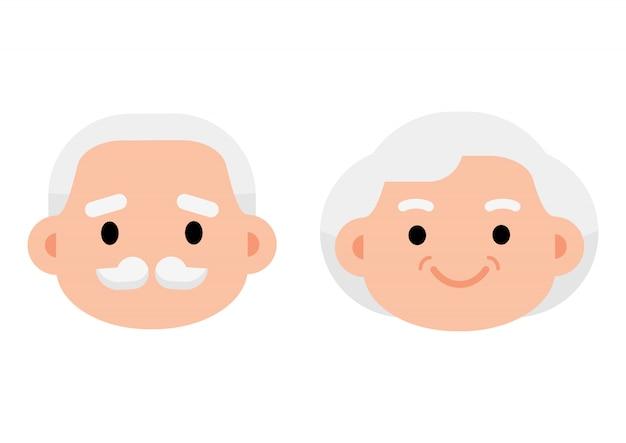 Ícone de casal de idosos sênior bonito Vetor Premium