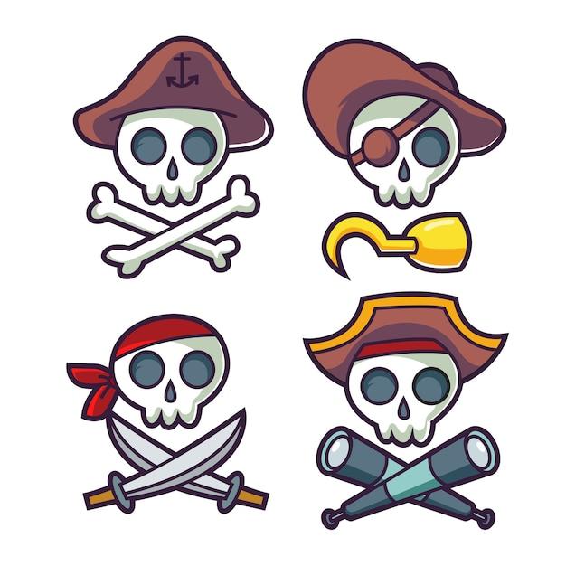 Icone De Caveira Pirata Engracado Dos Desenhos Animados Vetor