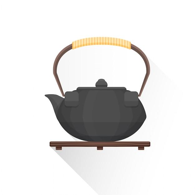 Ícone de chaleira de ferro de chá asiático plana Vetor Premium