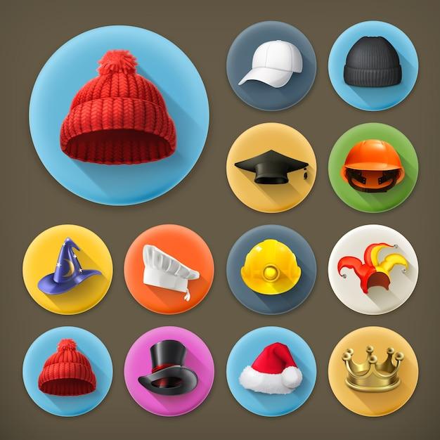 Ícone de chapéus definido com sombra Vetor Premium
