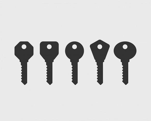 Ícone de chave símbolo de chaves. Vetor Premium