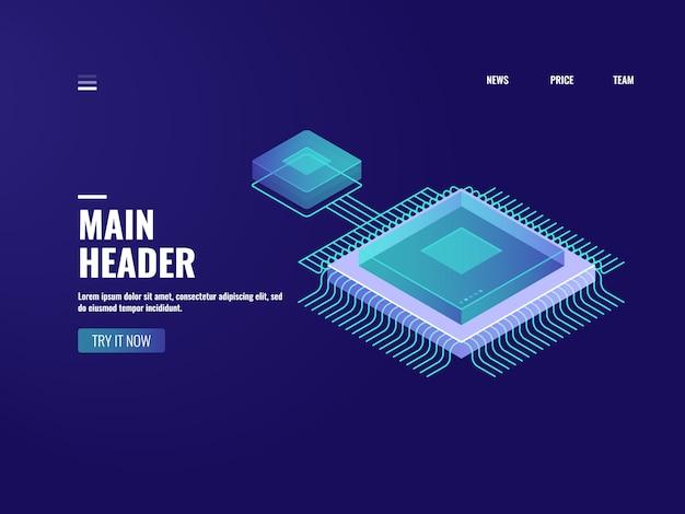 Ícone de chip de computador microeletrônica, processo de computação de dados, sala de servidores, armazenamento em nuvem Vetor grátis
