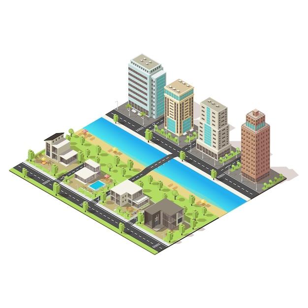 Ícone de cidade isométrica Vetor grátis