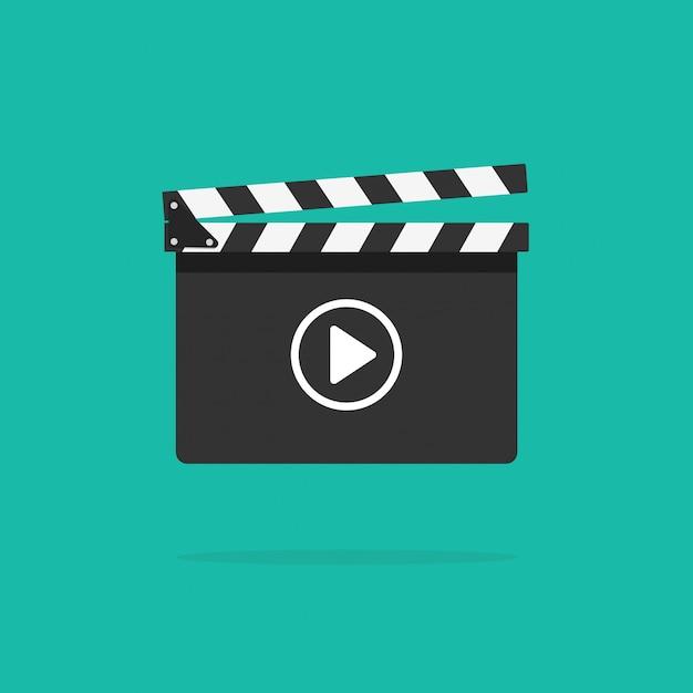 Ícone de claquete com botão de vídeo Vetor Premium