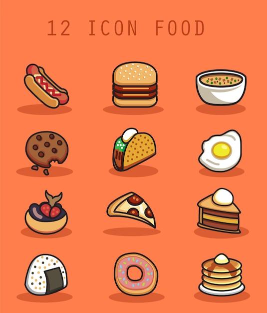Ícone de comida com o conceito de design plano Vetor Premium