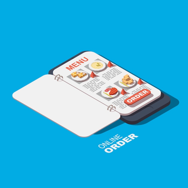 Ícone de comida de pedidos on-line Vetor Premium