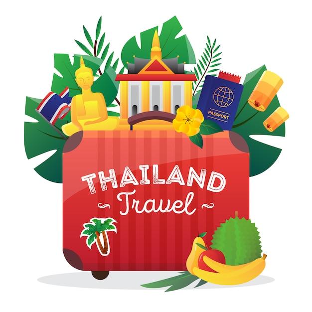 Ícone de composição de símbolos culturais da tailândia para os viajantes com a bandeira nacional Vetor grátis