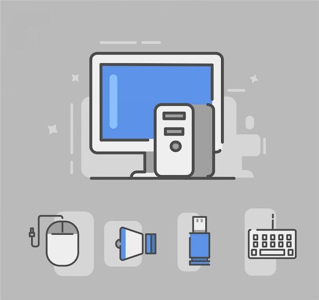 Ícone de computador ou seja, mouse, alto-falante, usb, teclado. computador, vetorial, ilustração Vetor Premium