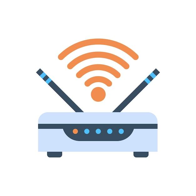 Ícone de conexão de internet sem fio de roteador sem fio Vetor Premium