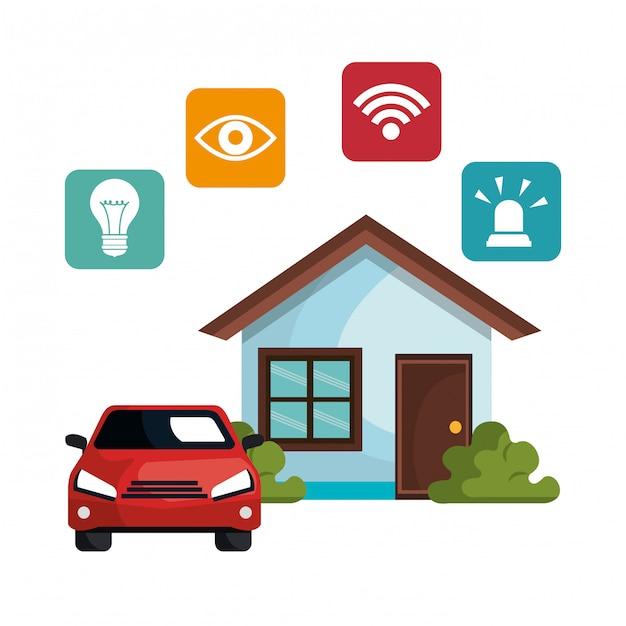 Ícone de conjunto de tecnologia em casa inteligente Vetor grátis