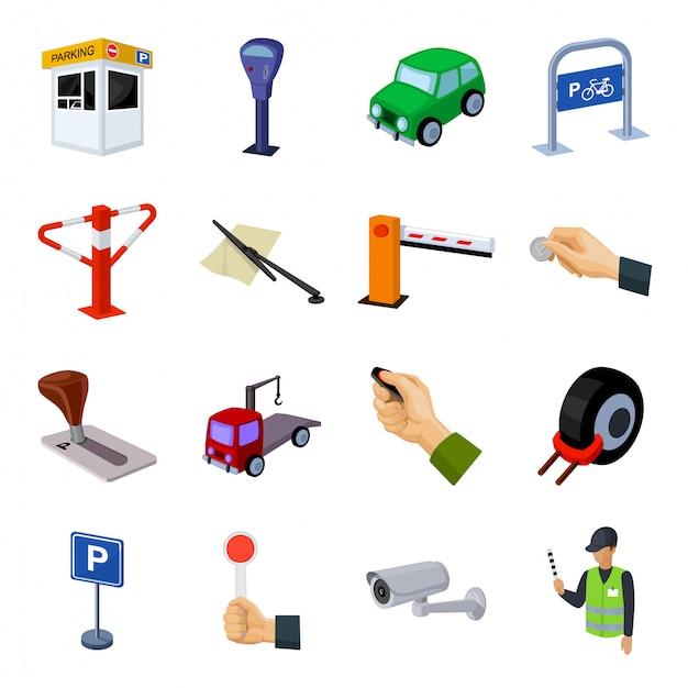 Ícone de conjunto dos desenhos animados da zona de estacionamento. zona de estacionamento de ilustração. Vetor Premium