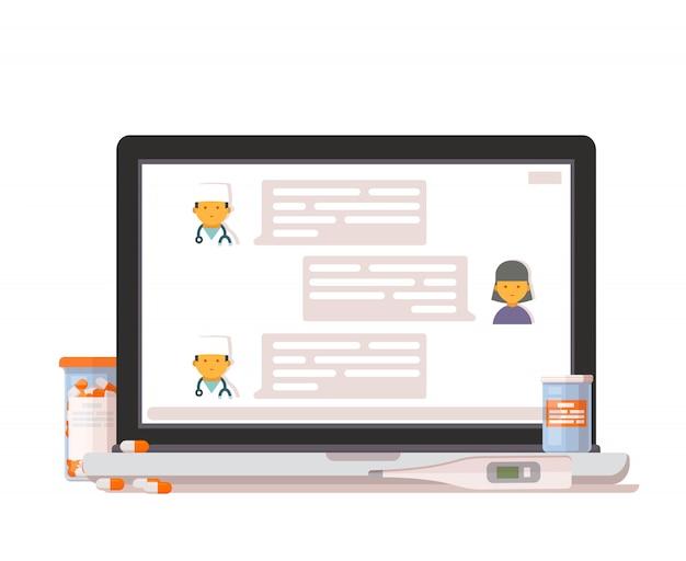 Ícone de consulta médica on-line. Vetor Premium
