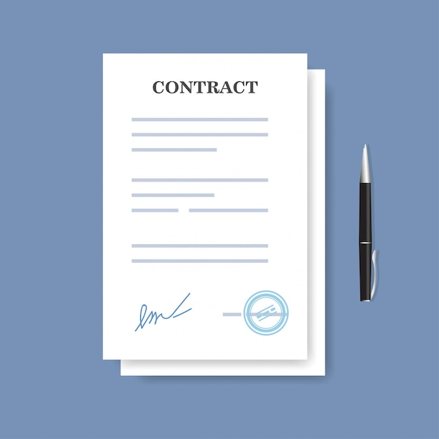 Ícone de contrato de contrato de papel assinado. acordo e pena isolados no fundo azul. Vetor Premium