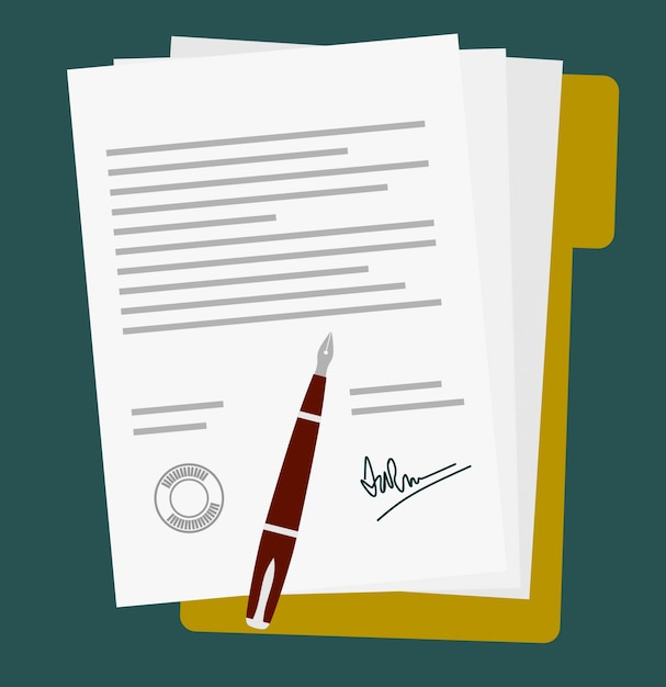 Ícone de contrato de contrato de papel assinado Vetor Premium
