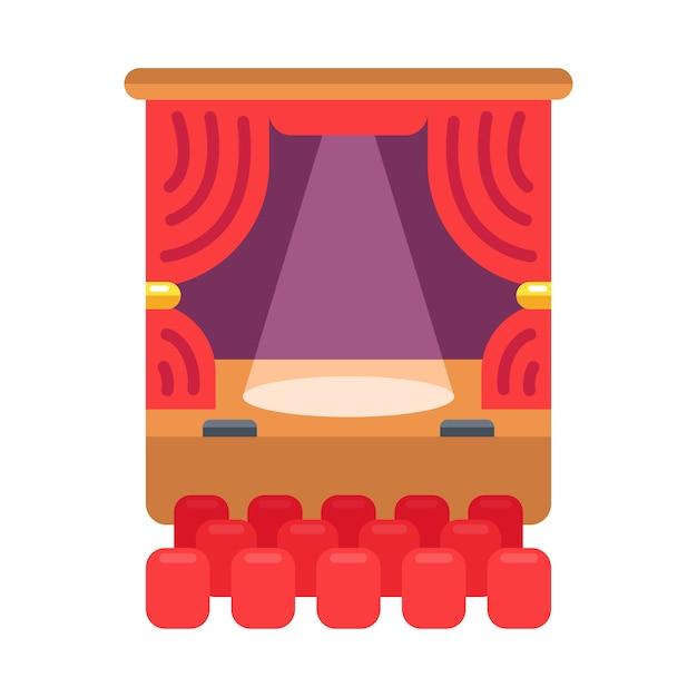 Ícone de cor do teatro. a cortina e os holofotes brilham no palco. ilustração. Vetor Premium