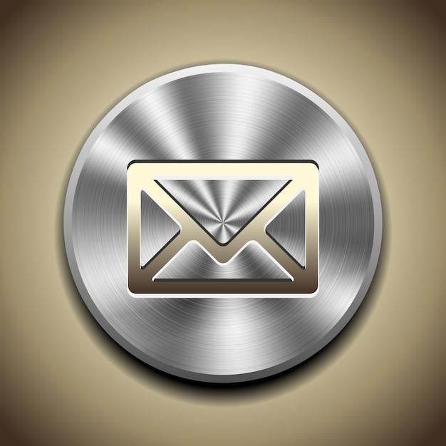 Ícone de correio dourado no botão com processamento circular de metal. Vetor grátis