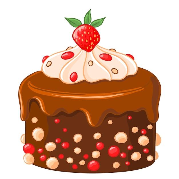 ícone De Desenho Animado Bolo De Chocolate Com Café Com Xarope De