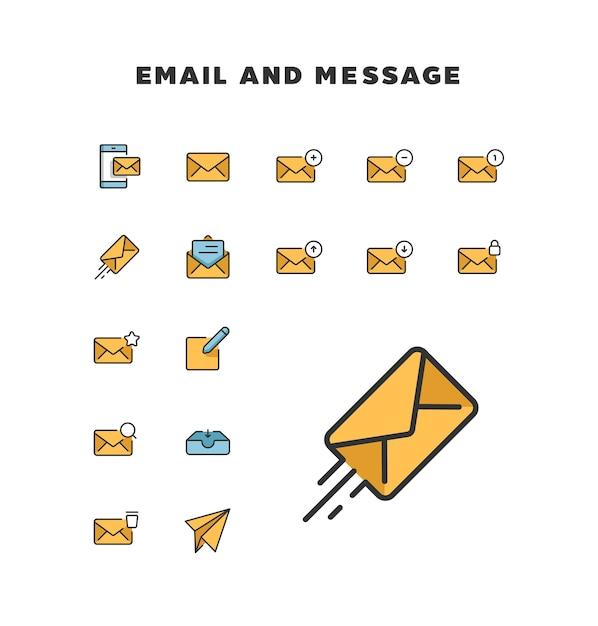 Ícone de e-mail e mensagem Vetor Premium