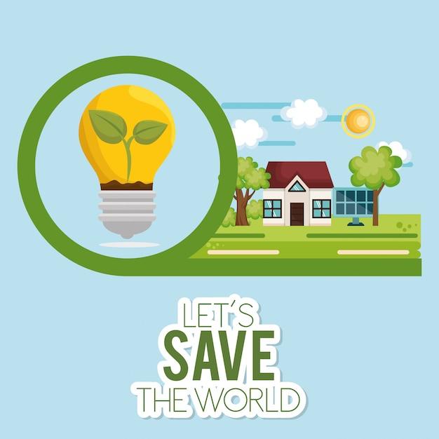 Ícone de ecologia de energia da lâmpada Vetor grátis