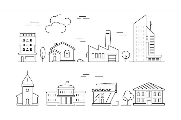 Ícone de edifícios urbanos. casas salas de estar villa exterior vetor suburbano linear símbolos isolados Vetor Premium