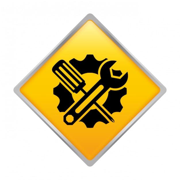 Ícone de emblema de serviço de reparação técnica Vetor Premium