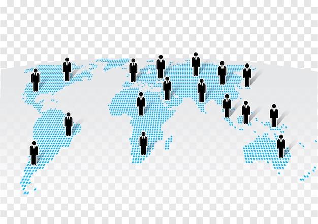 Ícone de empresário em pé no mapa do mundo moderno Vetor Premium