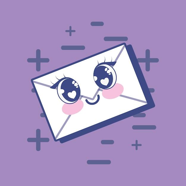 Ícone de envelope kawaii Vetor Premium