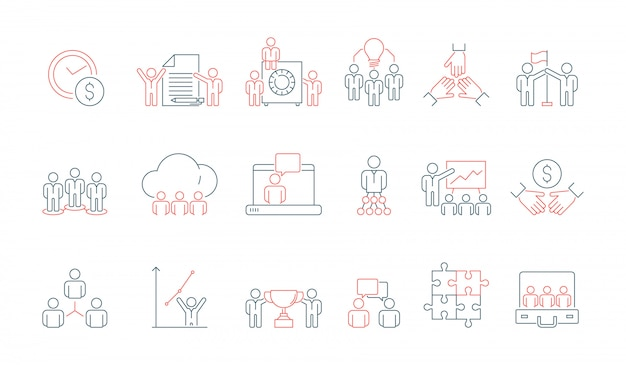 ícone De Equipe De Negócios Simples Comunicação Social