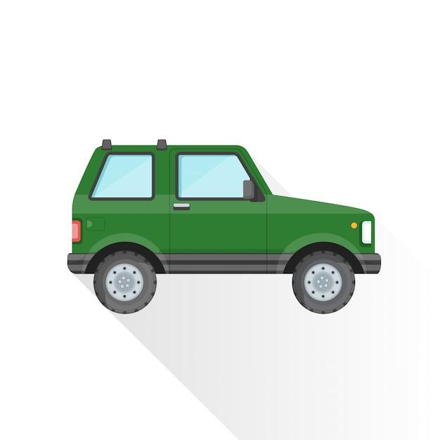 Ícone de estilo de carroçaria suv off-road verde plana Vetor Premium