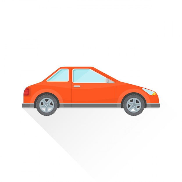 Ícone de estilo de corpo de carro cupê vermelho liso Vetor Premium