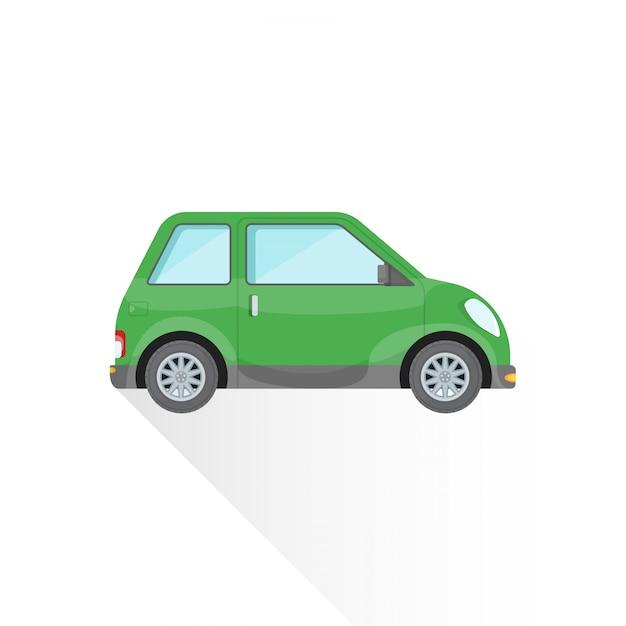 Ícone de estilo de corpo de carro de cidade compacta verde plana Vetor Premium