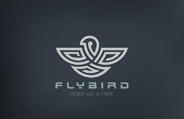 Ícone de estilo linear abstrato pássaro logotipo. Vetor Premium