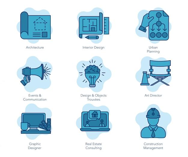 Ícone de estúdio azul Vetor Premium