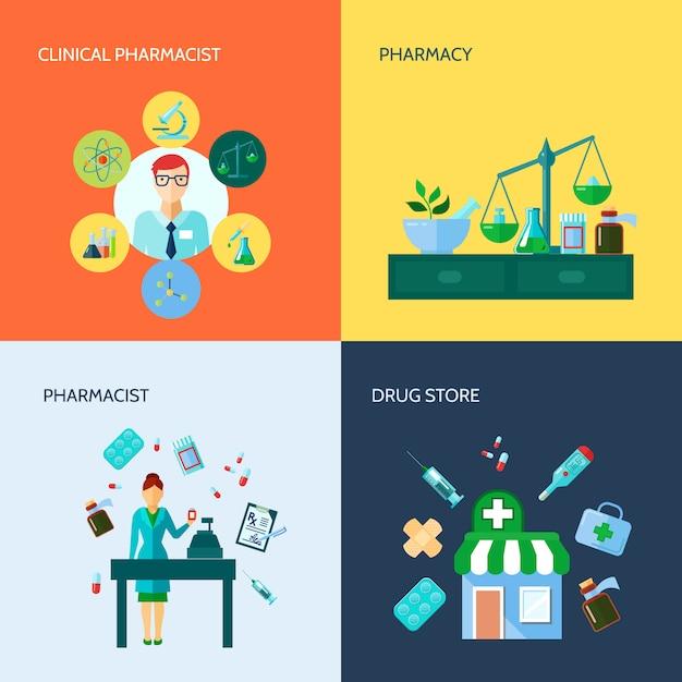 Ícone de farmácia plano conceitual isolado conjunto com vários dispositivos médicos e métodos de droga applicat Vetor grátis