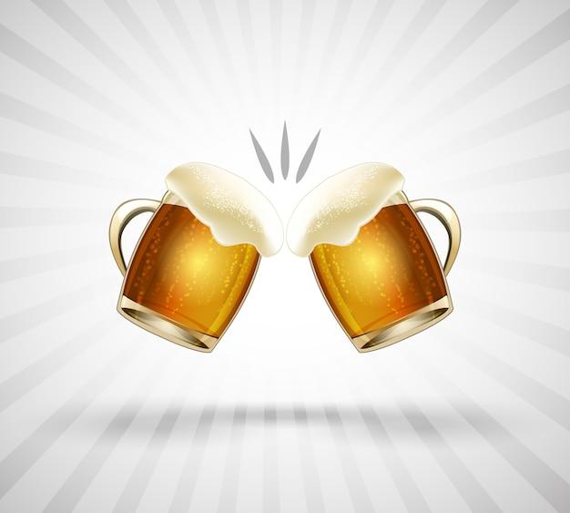 Ícone de felicidades. dois copos cheios até a borda com espuma de cerveja. ilustração vetorial Vetor grátis