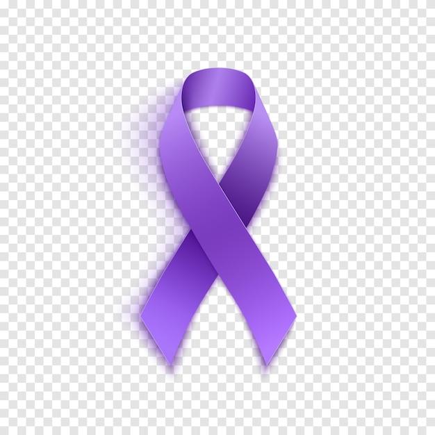 Ícone de fita roxa realista do dia mundial do câncer. ilustração vetorial Vetor Premium