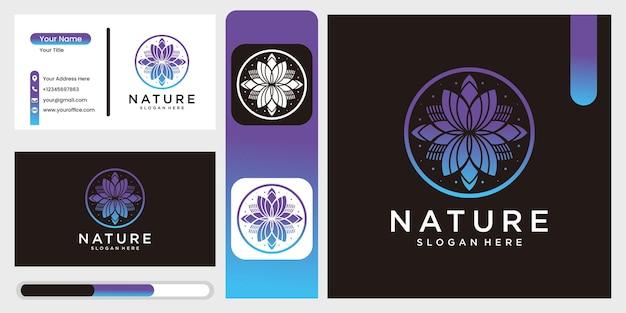 Ícone de flor de natureza vetorial e modelo de design de logotipo em estilo de contorno Vetor Premium