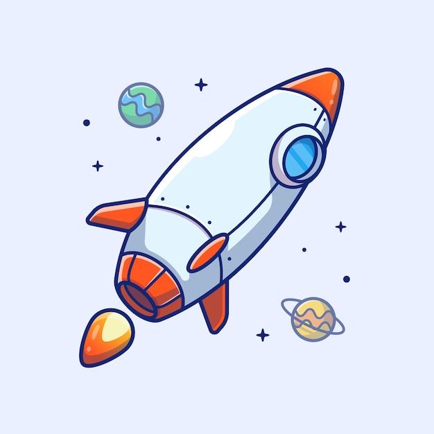 Ícone de foguete. foguete e planetas, ícone de espaço branco isolado Vetor Premium