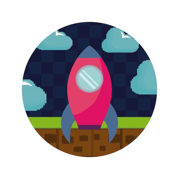 Ícone de foguete pixelizado de videogame Vetor Premium