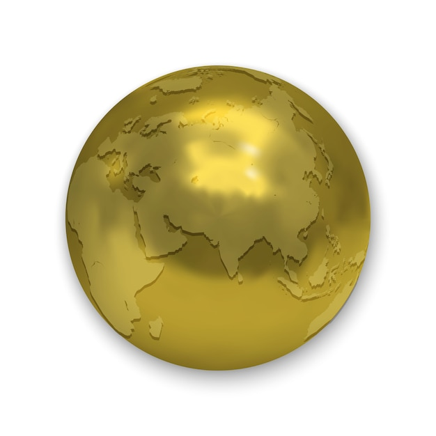 Ícone de globo de terra brilhante dourado isolado Vetor Premium