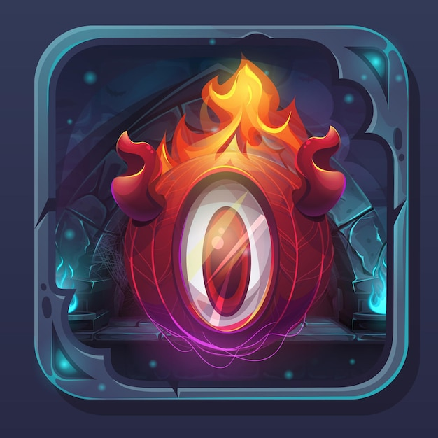 Ícone de gui de batalha de monstro - chama de eldiablo ilustração estilizada dos desenhos animados. Vetor Premium