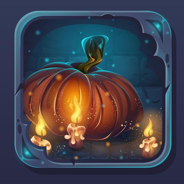 Ícone de gui de batalha de monstro - ilustração estilizada dos desenhos animados, abóbora e velas. Vetor Premium