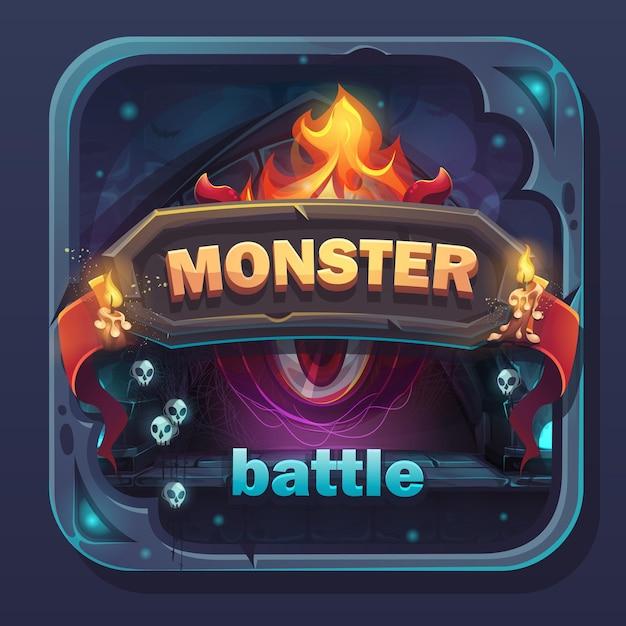 Ícone de gui de batalha de monstros - ilustração estilizada dos desenhos animados com botão de texto, nome do jogo. Vetor Premium