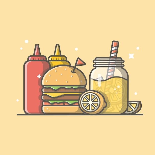 Ícone de hambúrguer com suco de laranja, limão, mostarda e molho de ketchup. logotipo de fast-food. menu de café e restaurante isolado Vetor Premium