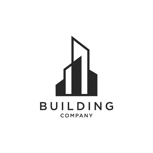 Ícone de ilustração de vetor logotipo de edifício Vetor Premium