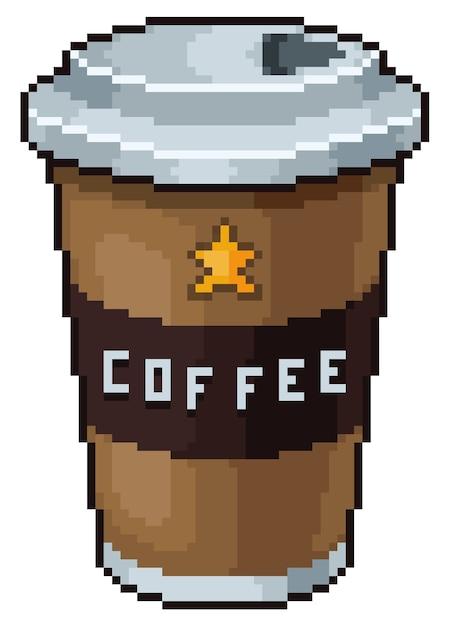 Ícone de jogo de xícara de café pixel art Vetor Premium